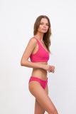 Cinque Terre - One shoulder bikini top in Flamingo Corduroy