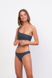 Cinque Terre - One shoulder bikini top in Slate Grey