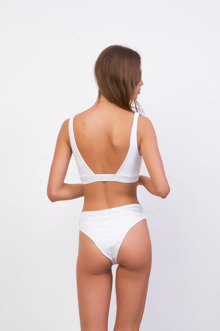 Cannes - High Waist Bikini Bottom in White Corduroy