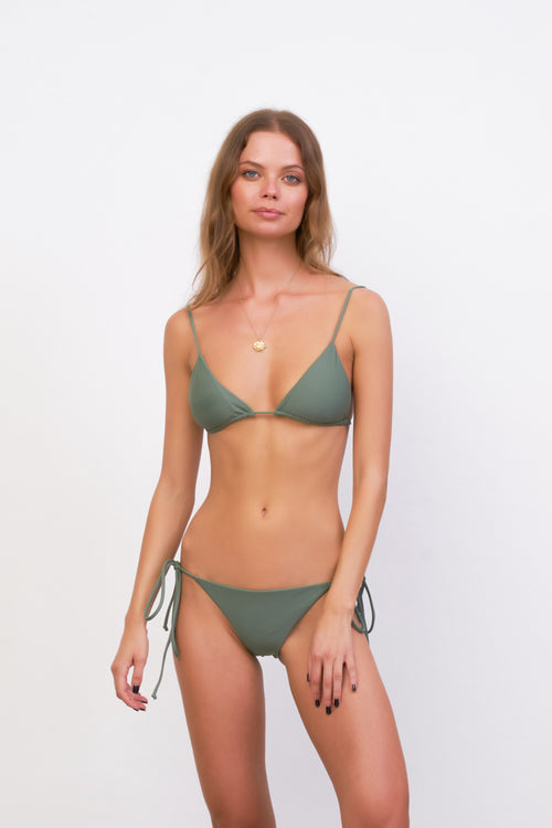 Formentera - Tie Back Triangle Bikini Top in Eucalyptus