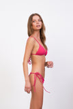 Formentera - Tie Back Triangle Bikini Top in Flamingo Corduroy
