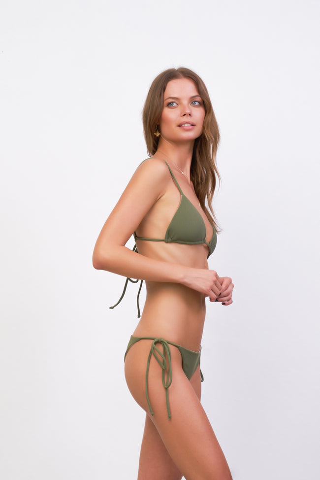 Formentera - Tie Back Triangle Bikini Top in Jungle Corduroy