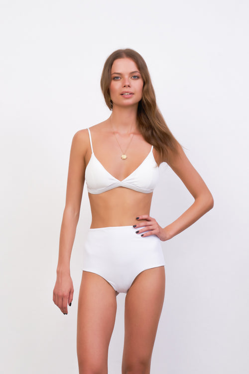 Mallorca - Triangle Bikini Top with removable padding in White Corduroy