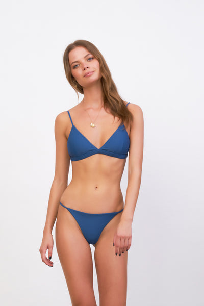 Capri - Tube Single Side Strap Bikini Bottom in Ocean Blue
