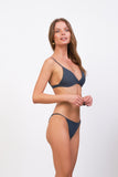 Capri - Tube Single Side Strap Bikini Bottom in Slate Grey