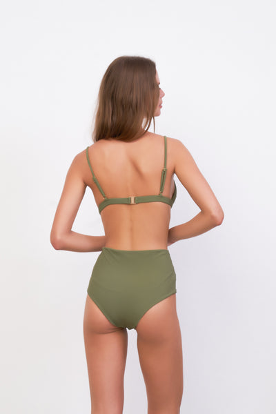 Cannes - High Waist Bikini Bottom in Jungle Corduroy