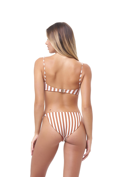 Cap Ferrat - Bikini Bottom in Sunburnt Stripe Print