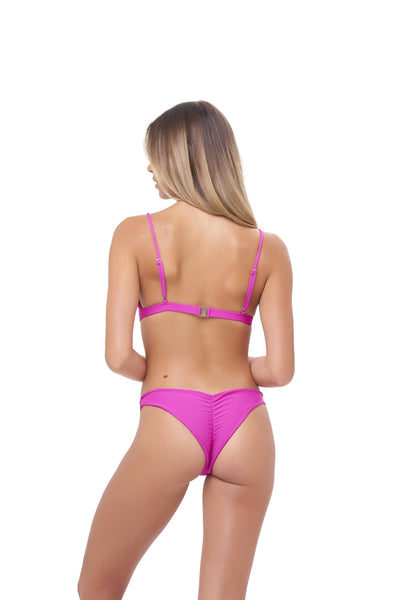 Aruba - Centre Back Ruche Bikini Bottom in Fuchsia