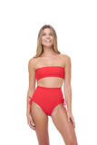 Ravello - Plain Bandeu Bikini Top in Scarlet
