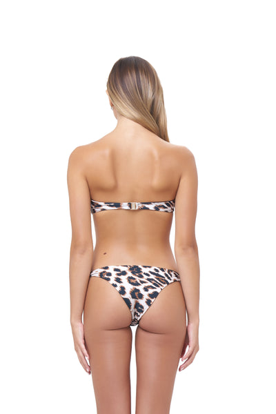 Amalfi - Bandeu centre ruched bikini top in Leopard Print