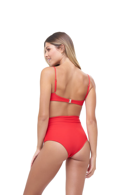 Cannes - High Waist Bikini Bottom in Scarlet