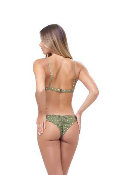 Aruba - Centre Back Ruche Bikini Bottom in Seagrass Polkadot