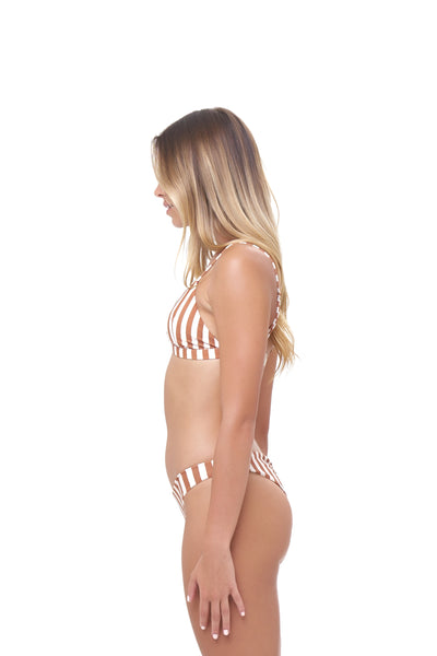 Aruba - Centre Back Ruche Bikini Bottom in Sunburnt Stripe Print