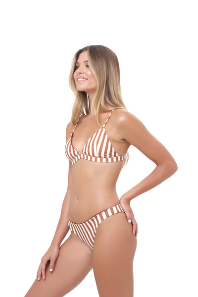 Mallorca - Triangle Bikini Top with removable padding in Sunburnt Stripe