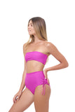 Ravello - Plain Bandeu Bikini Top in Fuchsia