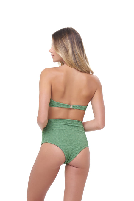 Aruba - Centre Back Ruche Bikini Bottom in Palm Green