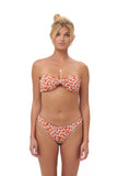 Amalfi - Bandeu centre ruched bikini top in Vintage Flower Red Print