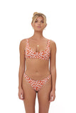 Aruba - Centre Back Ruche Bikini Bottom in Vintage Flower Red Print