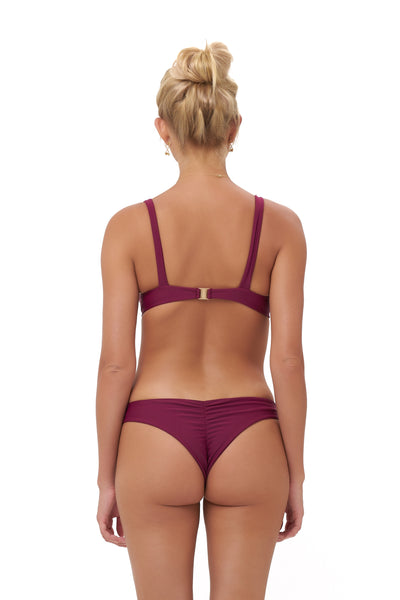 Aruba - Centre Back Ruche Bikini Bottom in Wine