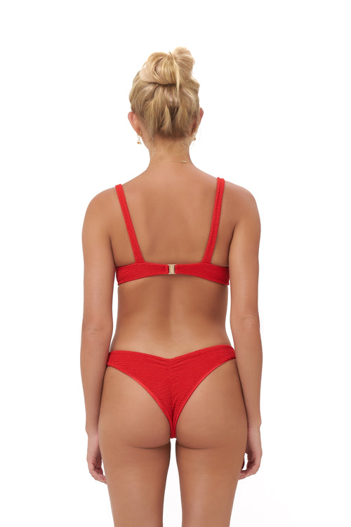 Aruba - Centre Back Ruche Bikini Bottom in Storm Le Nuage Rouge