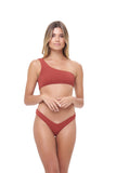 Cinque Terre - One shoulder bikini top in Storm Le Nuage Rouille