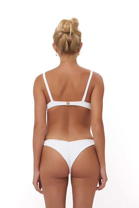 Aruba - Centre Back Ruche Bikini Bottom in Wattle Honeycomb