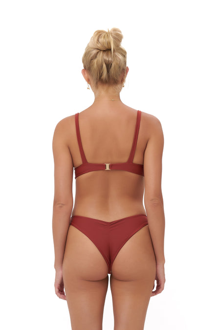 Capri - Tube Single Side Strap Bikini Bottom in Wine