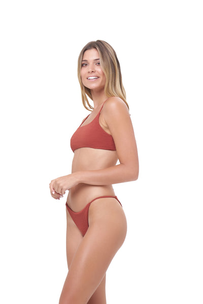 Capri - Tube Single Side Strap Bikini Bottom in Storm Le Nuage Rouille