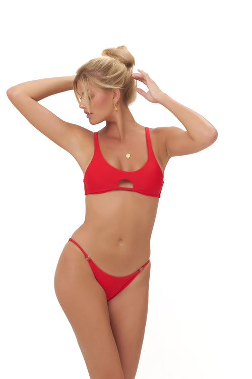 Alicudi - Bikini Top in Scarlet