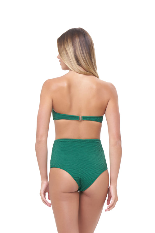 Cannes - High Waist Bikini Bottom in Storm Le Nuage Vert