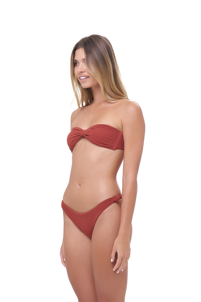 Amalfi - Bandeu centre ruched bikini top in Storm Le Nuage Rouille