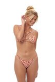 Cap Ferrat - Bikini Bottom in Vintage Flower Red Print