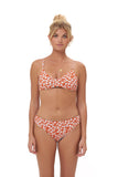 Stromboli - Bikini Top in Vintage Flower Red Print