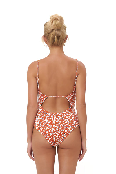 Portofino - One Piece Swimsuit in Vintage Flower Red Print