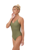 Portofino - One Piece Swimsuit in Seagrass Polkadot Print