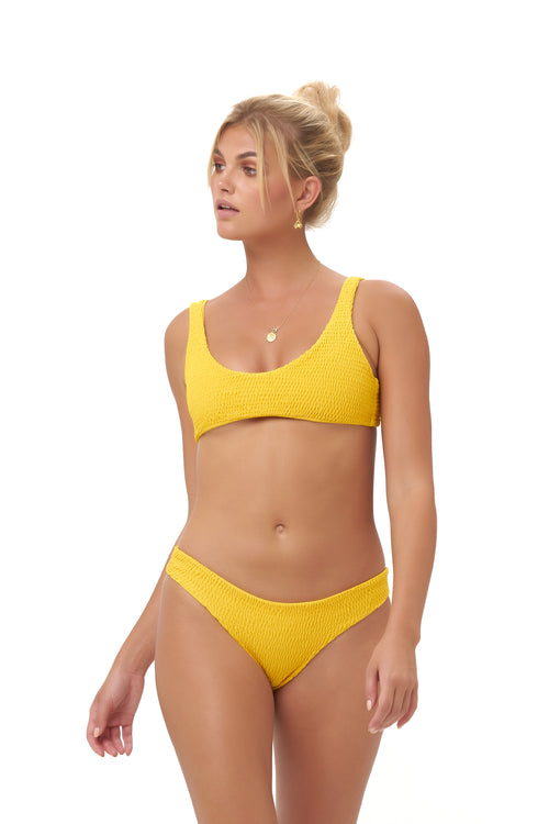 Algarve - Supportive boob with elastic shirring Top in Citrus