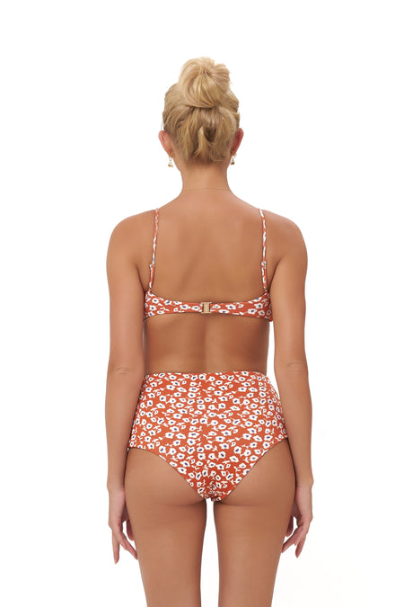 Corfu - Tie Side with Ring Bikini Brief in Sunburnt Stripe