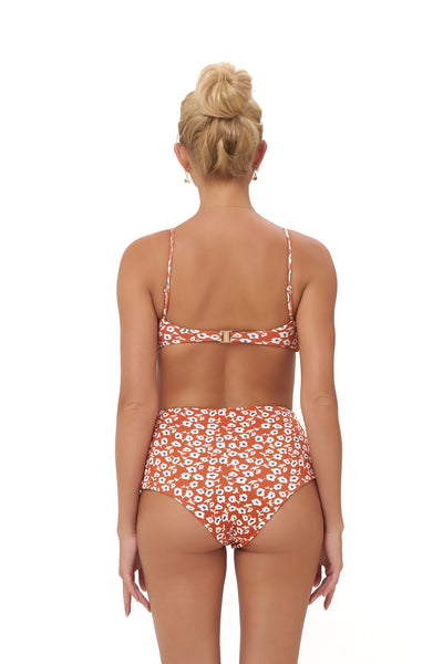Cannes - High Waist Bikini Bottom in Vintage Flower Red Print