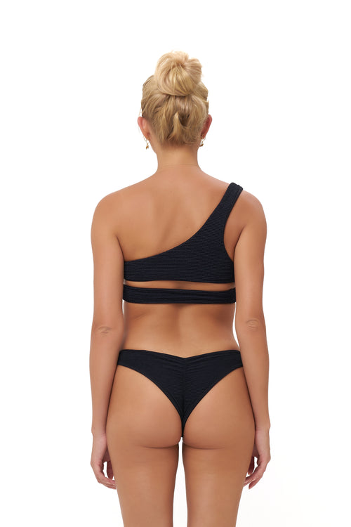 Aruba - Centre Back Ruche Bikini Bottom in Storm Le Nuage Noir