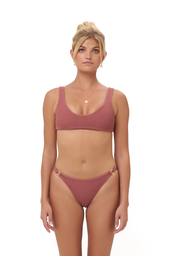 Algarve - Supportive boob with elastic shirring Top in Canyon Rose