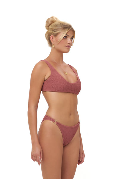 Lanzarote - bikini Bottom in Elastic Shirring in Canyon Rose