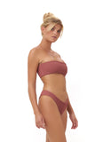 Ravello - Plain Bandeu Bikini Top in Elastic Shirring Canyon Rose