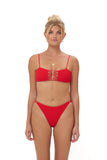 Corfu - Bandeu Elastic Shirring Bikini Top in Scarlet