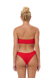 Ravello - Plain Bandeu Bikini Top in Elastic Shirring Scarlet