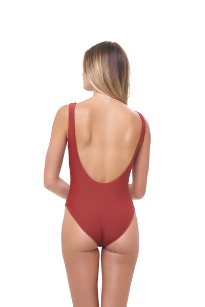 Corsica - Lace Up One Piece in Desert Sand