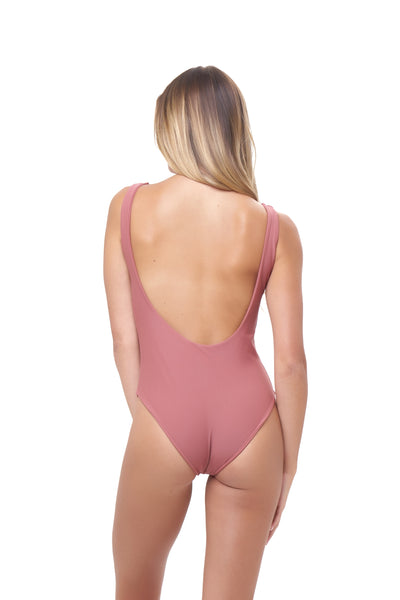 Corsica - Lace Up One Piece in Canyon Rose