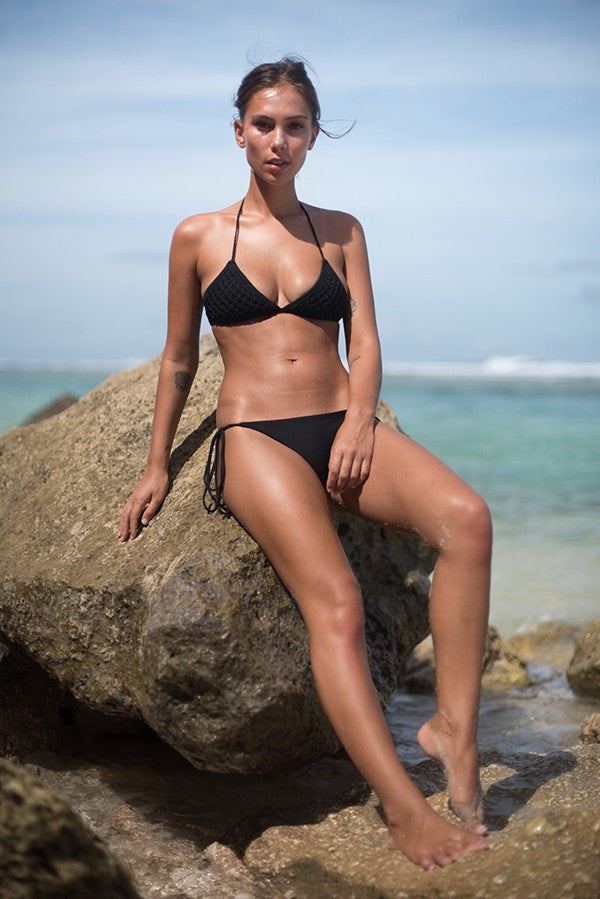 Storm swimwear bikini top in black matte