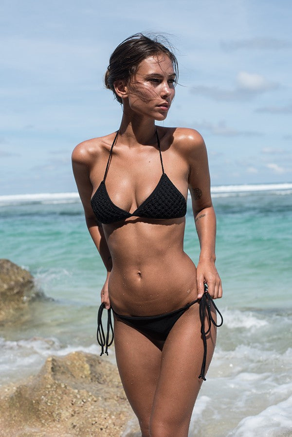 Macrame Bikini top in black by storm swimwear