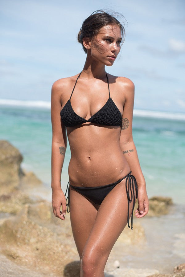 Black macrame bikini top by storm swimwear