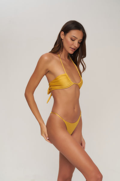 Capri - Tube Single Side Strap Bikini Bottom in Mango Shimmer